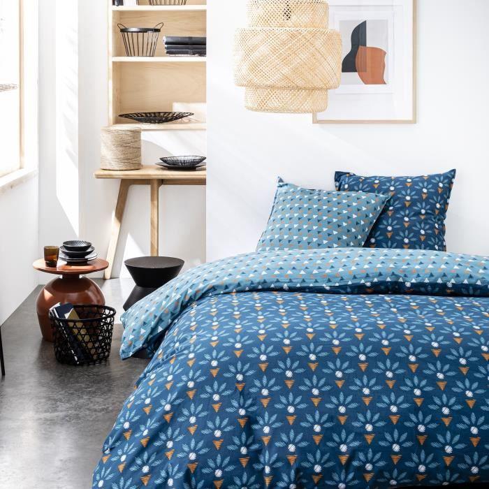 TODAY Parure de couette 100 % Coton 220x240cm SUNSHINE #3.13 - Bleu