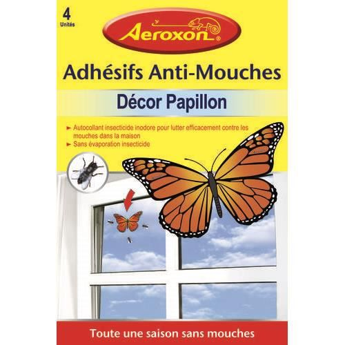 Autocollant vitre tue mouches anti mouches forme papillon for Anti mouches maison