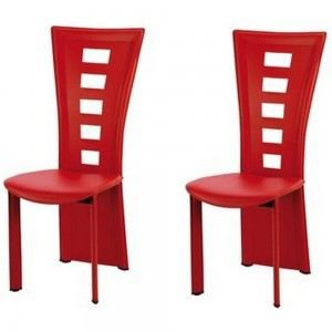 Chaises salle manger queen rouges x2 rouge achat - Chaises occasion salle manger ...