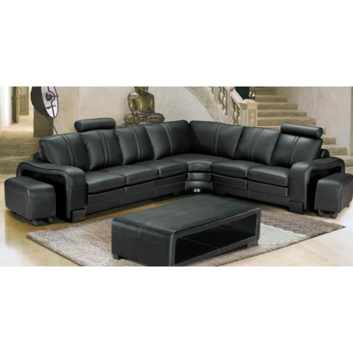 canap d 39 angle en cuir noir avec t ti res pouf achat vente canap sofa divan black. Black Bedroom Furniture Sets. Home Design Ideas