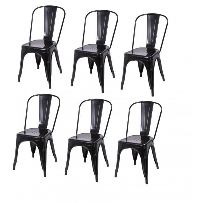 lot de 6 chaises de salle manger style industriel. Black Bedroom Furniture Sets. Home Design Ideas