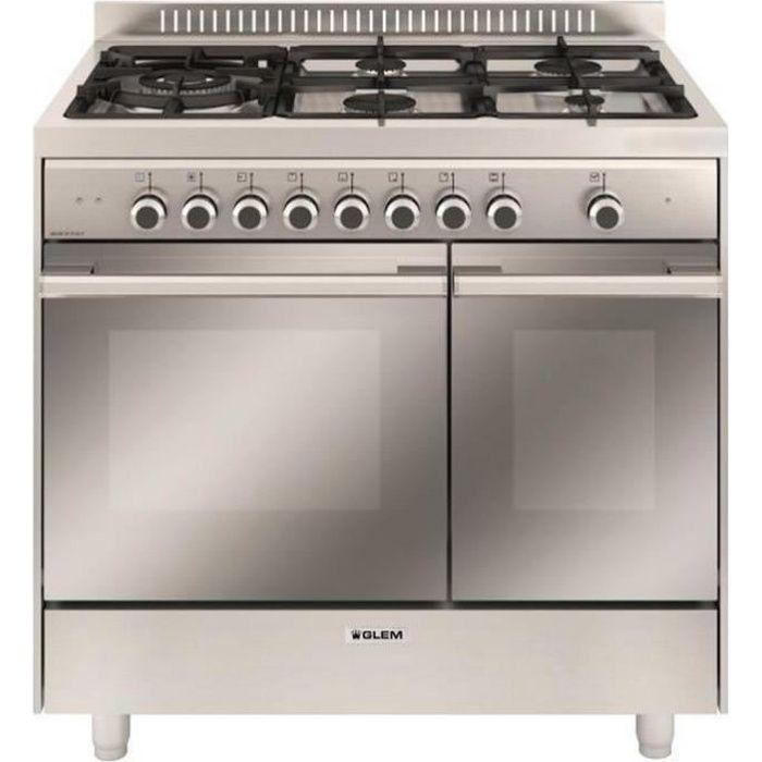 CUISINIÈRE - PIANO Glem - cuisinière mixte b 67l 5 feux inox - gxd96c