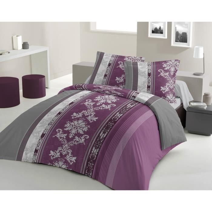 lovely home parure de couette camellia 100 coton 1 housse de couette 240x260cm 2 taies d. Black Bedroom Furniture Sets. Home Design Ideas