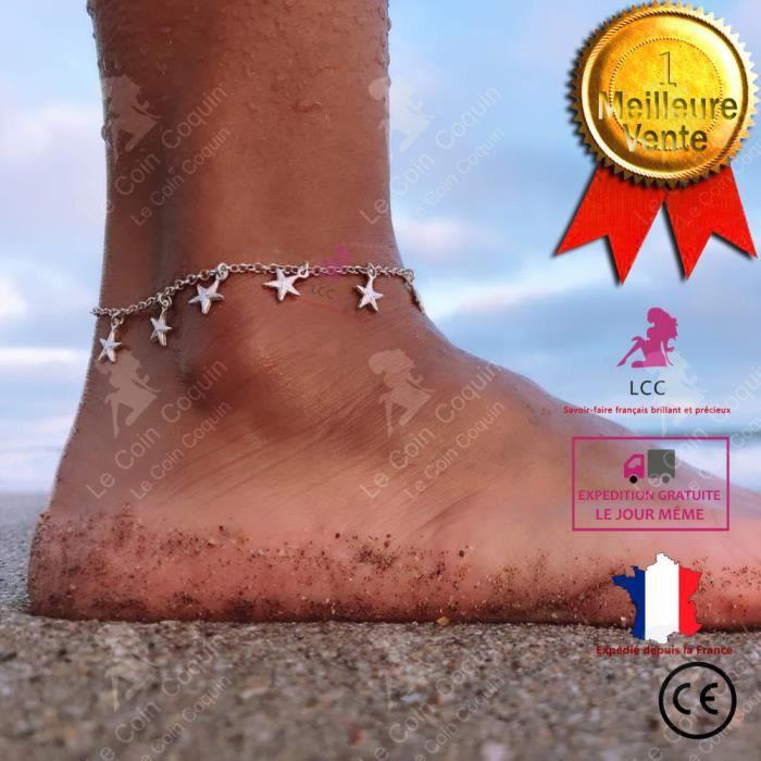 Bracelets de cheville breloque perle Bijoux Sandales Pieds Nus Plage Étoile de mer blanche cheville chaîne