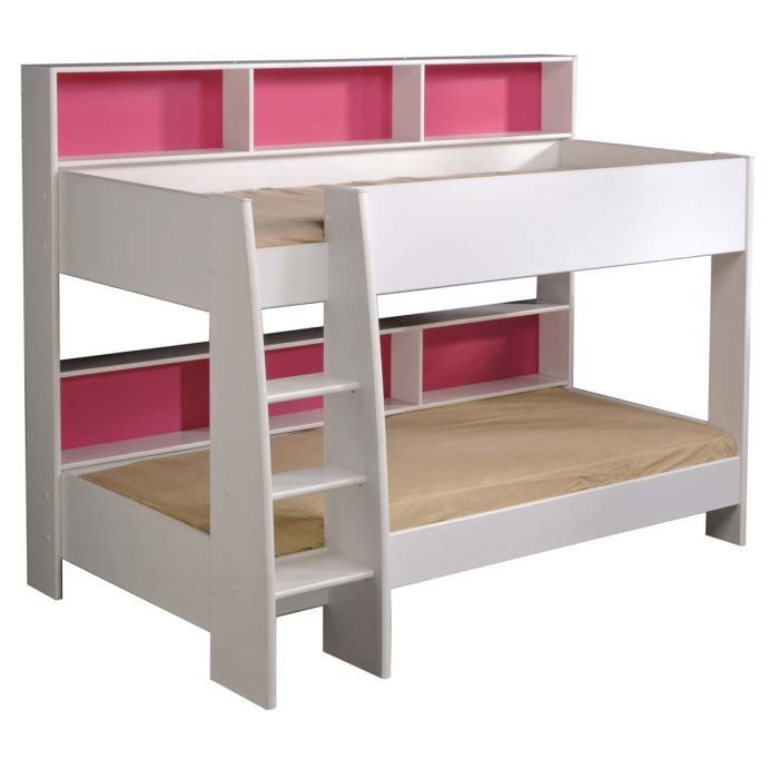 miliboo lit superpos fille blanc et rose aria achat vente lits superpos s soldes. Black Bedroom Furniture Sets. Home Design Ideas