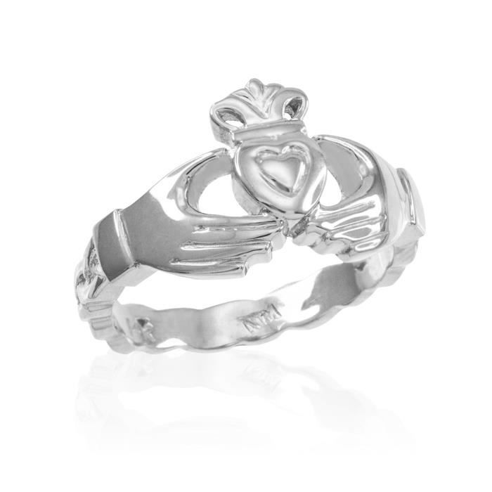 Bague Femme 10 ct Or Blanc 471/1000 Claddagh Avec Celtique Band