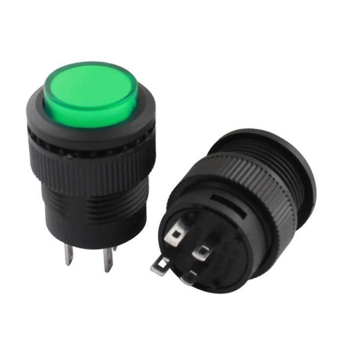 503/LED verte lampe Poussoir momentan/é 250/V//AC 3/A 2/pcs R16