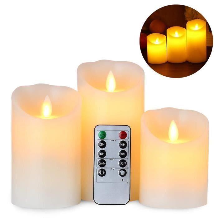Sans Flamme Scintillement DEL votives photophore bougies à piles avec minuteur//6