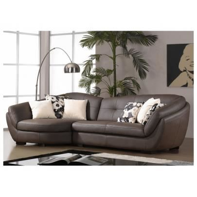 canap d 39 angle cuir de buffle capretto chocolat achat vente canap sofa divan cdiscount. Black Bedroom Furniture Sets. Home Design Ideas
