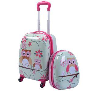 Set de Bagage Enfant Valise Trolley /à roulettes et Sac /à Dos pour Enfants Bagage /à Main Imprim/é de LHibou