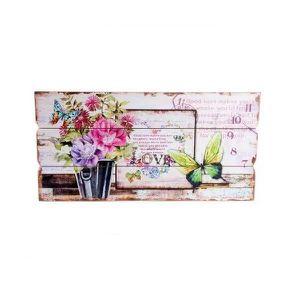 TABLEAU - TOILE Tableau - cadre bois Fleur et Papillon - 60 x 30 c