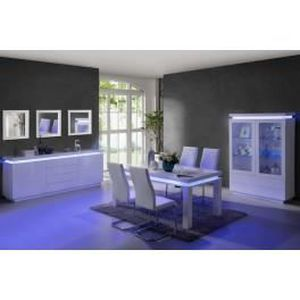 salle manger compl te blanc laqu avec led int gr ledia achat vente salle manger salle. Black Bedroom Furniture Sets. Home Design Ideas