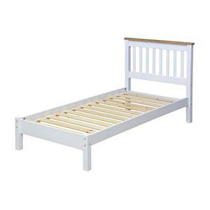 STRUCTURE DE LIT Lit 90x190 cm blanc et naturel - SUZY