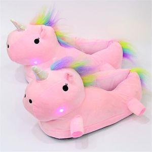 CHAUSSON - PANTOUFLE Unicorn slippers Lumières LED Mignon dessin animé