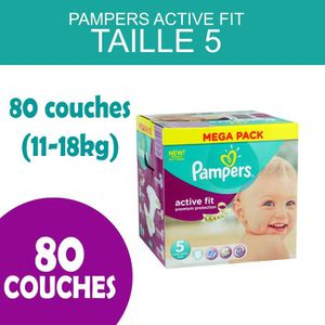 COUCHE PAMPERS ACTIVE FIT TAILLE 5 - 80 COUCHES (11-18KG)