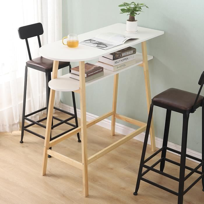 Table à Manger Table Haute Mange-Debout Scandinave Meuble d'entrée de Rangement 112cm x 111cm x 48cm
