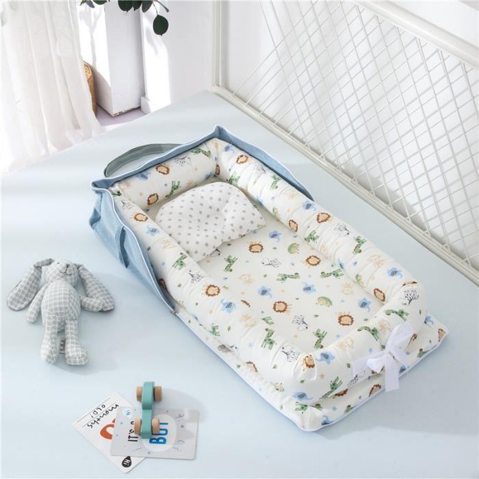Lit Bébé Portable en Coton Reducteur de lit Pliable Nid pour nouveau-né nourrisson de voyage Lavable Berceau 0-2 Ans, Animaux Bleu