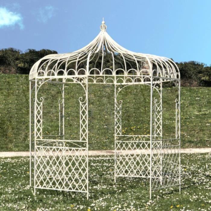 Tonnelle Pergola Gloriette en Fer de Jardin Ronde Blanche ø250 cm - 14302-Pergola