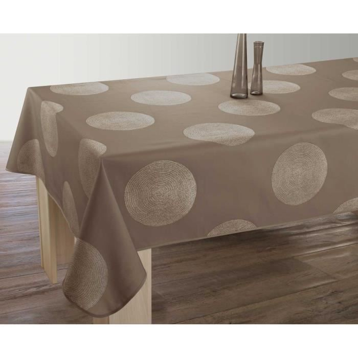 Nappe anti-taches Rectangulaire 150x300 cm - Cercles taupe