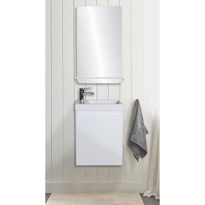 Lave-mains blanc LISA avec miroir tablette blanche