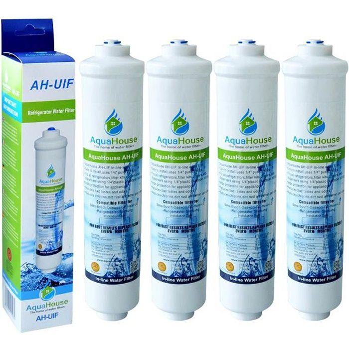 4x AquaHouse AH-UIF Compatible Filtre à eau universel pour réfrigérateur Samsung LG Daewoo Rangemaster Beko Haier etc Réfrigérateur