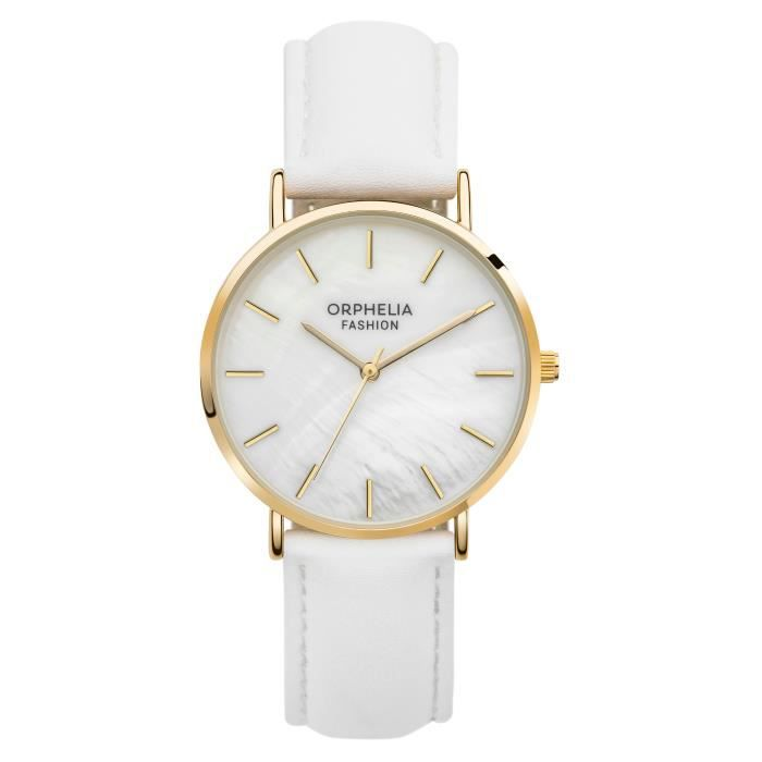 Orphelia Fashion - Montre Femme - Quartz Analogique - Bracelet Cuir Blanc - OF711807