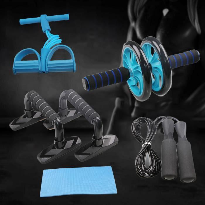 Three 5 en 1 Kit d'Appareils de Fitness Support push-up Roue musculaire à roue double - multifonctionnel (Bleu)
