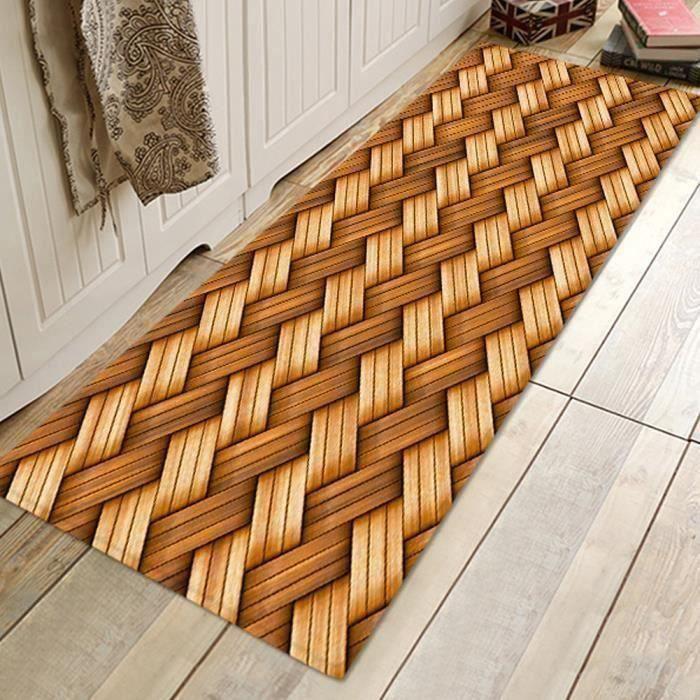 Tapis de sol porte en bambou à motif tissage absorbant antidérapant (60x180cm)