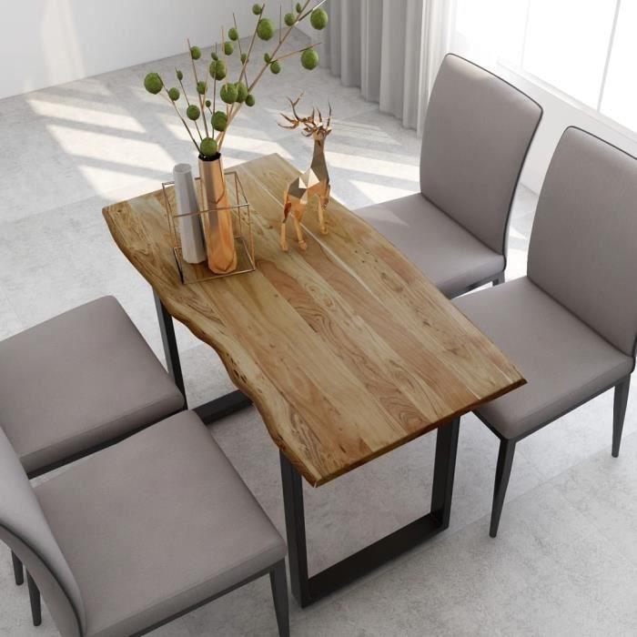 Table salle à manger Industriel et Rustique - Pour 4 à 6 personnes - Bois d'acacia Solide & Pieds en Acier - 118x58x76 cm