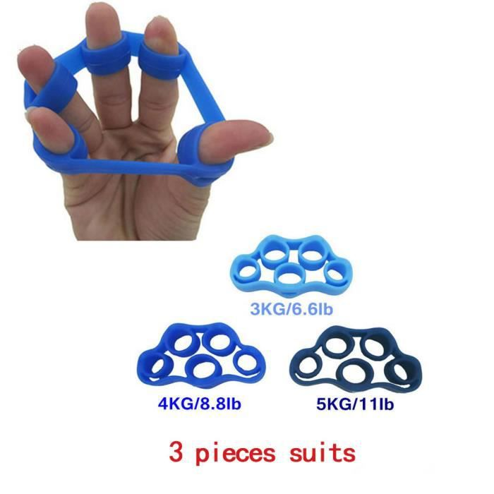 3 Pcs Colore Finger Stretcher Force Entraîneur Doigts Exercice Bande élastique Équipements en silicone
