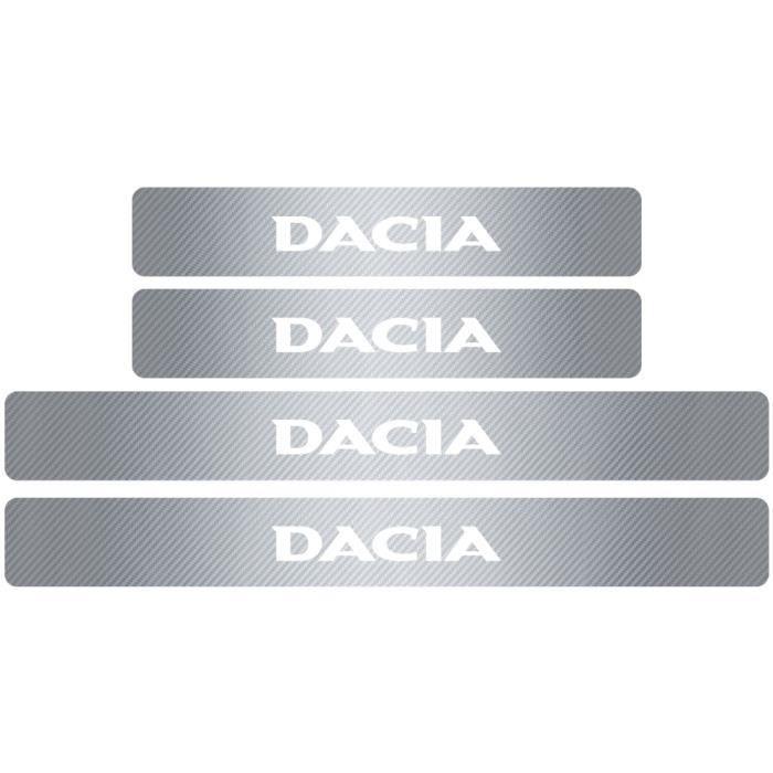 Argent -Plaque de protection en Fiber de carbone pour seuil de porte de voiture, autocollant pour Renault Dacia Duster Logan Sandero