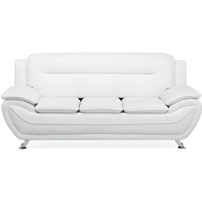 Beliani - Canapé 3 places en simili-cuir blanc LEIRA
