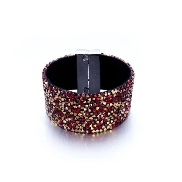 Bracelet Manchette de Cristaux rouges et dorés de Swarovski Elements et Velours noir