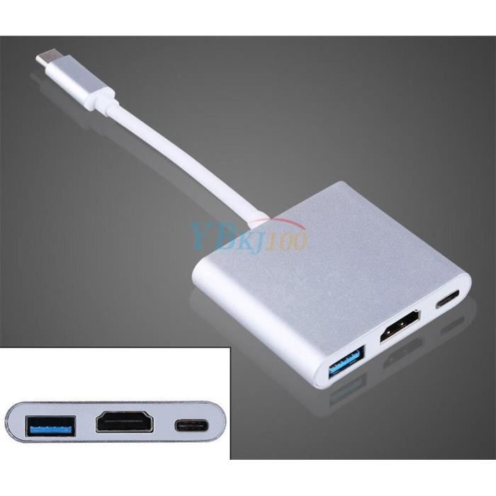 Adaptateur Usb 3.1 Type C Male Vers Hdmi Usb 3.0 Multiport Charge Port Adapteur