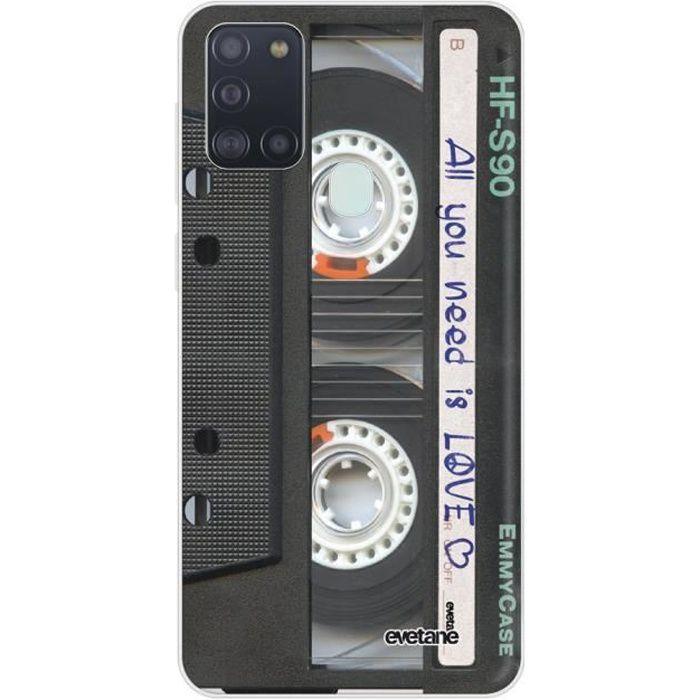 Coque Samsung Galaxy A21S 360 intégrale transparente Cassette Ecriture Tendance Design Evetane.