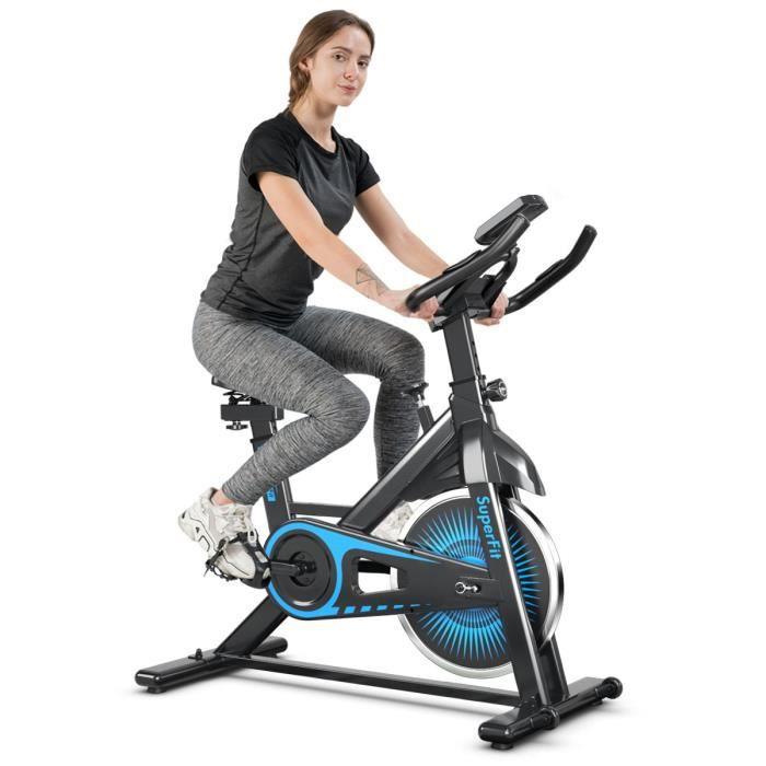 GIANTEX Vélo d'appartement avec Ecran LED et Résistance Ajustable, Vélo Fitness Sport avec Capteur Cardiaque Charge Max.120kg