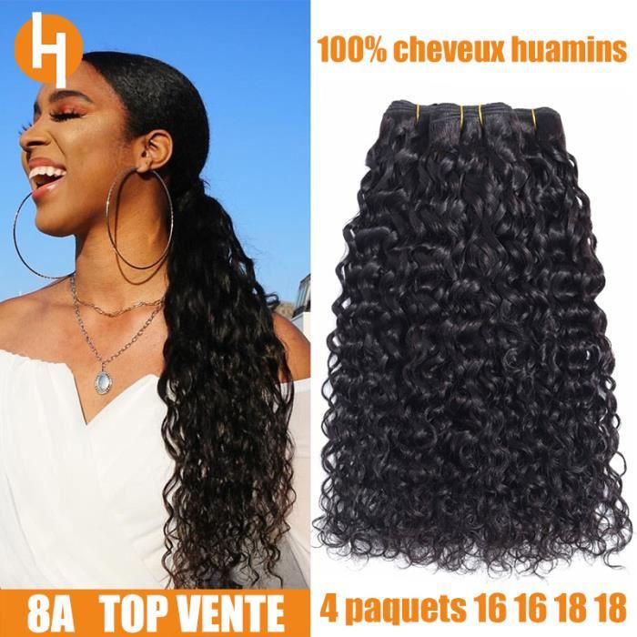 HAIRICH lot 4 tissage bresilien bouclé cheveux naturels virgin human hair (50/g)water wave(16-16-18-18-)