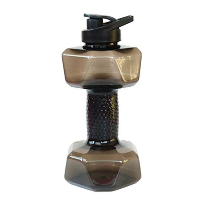 Grande Capacité PETG Écologique Tasse Haltère Forme Bouteilles D'eau Potable Barbell Corps de Bouilloire Formation 1500ml noir