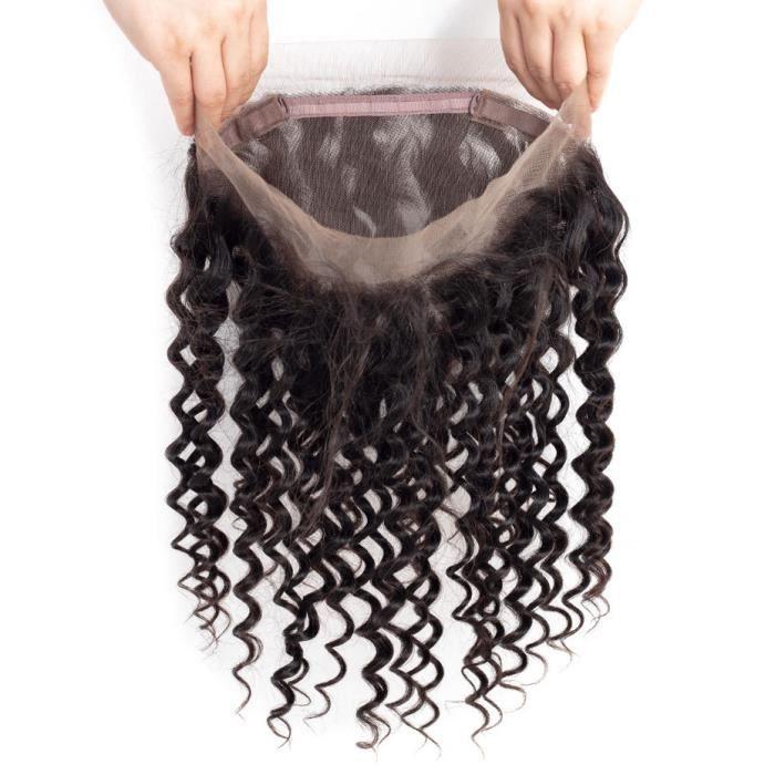 14-Vague profonde 360 dentelle frontale fermeture brésilienne cheveux humains lace frontal closure
