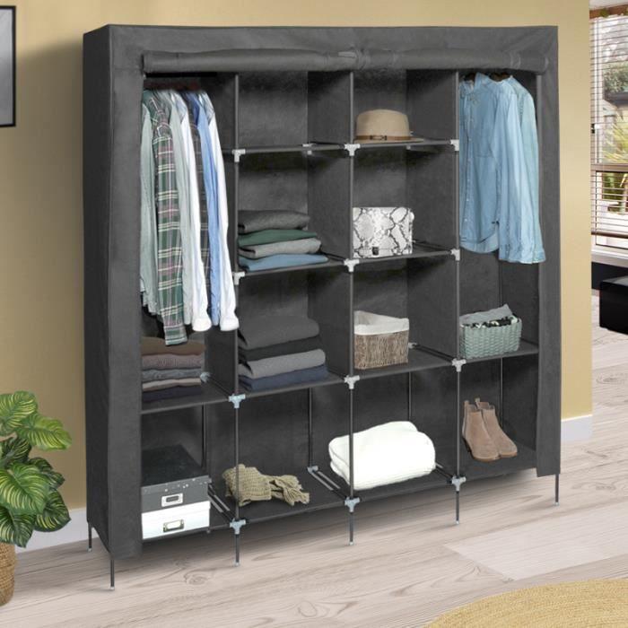 Grande armoire de rangement grise dressing DOUBLE penderie XXL tissu