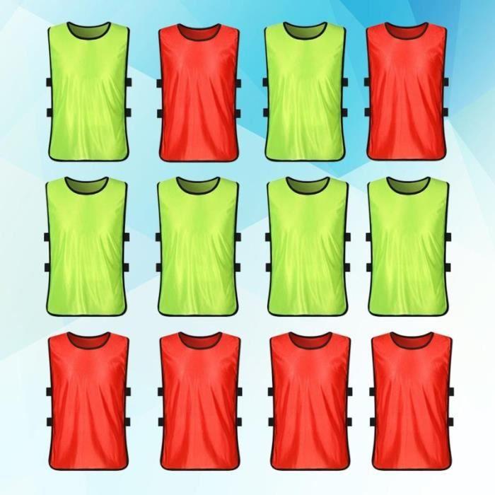12 PCS Adulte Enfants Football Basket-Ball Formation Gilet Bébé Sport Jeu Team Mesh Vest Été Vêtements Taille-S (Fluorescent Vert