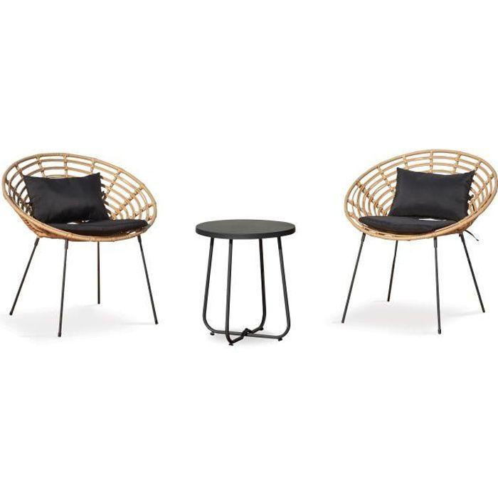 Salon de jardin 2 places en rotin synthétique, 2 fauteuils, 1 table basse, Antalya Naturel