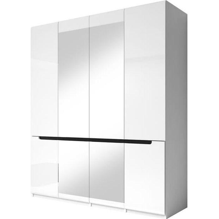 Armoire design 4 portes et 2 miroirs couleur blanche finitions glossy - LUCIA 60 Blanc