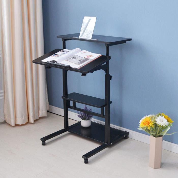 TMISHION table d'ordinateur debout Bureau d'ordinateur portable debout pliable réglable en hauteur Table d'ordinateur domestique à
