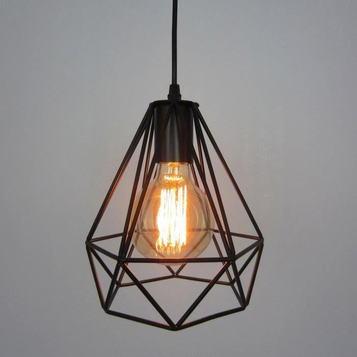 Lampe suspendue de Plafond Cage Métallique d'Abat-Jour de Lustre en Forme de Diamant Style Minimaliste Industrielle (sans ampoule)