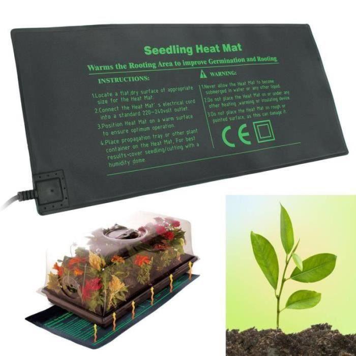 AWY24499-220V 24x52cm Tapis Chauffant pour Semis Germination des Graines de Plantes Fleurs de Légumes Fournitures d'Outils de Jard