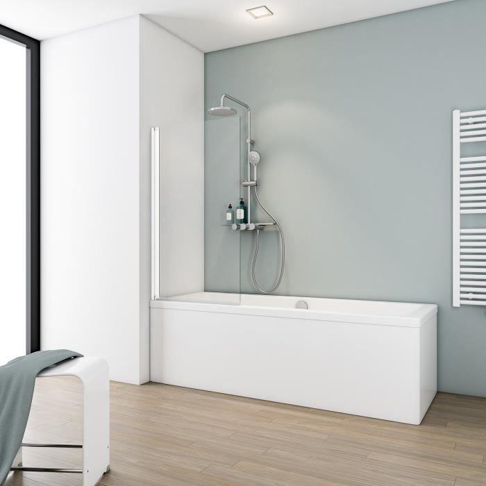 profil/é alu nature Schulte pare-baignoire pivotant 70x120 cm /écran de baignoire 1 volet paroi de baignoire rabattable verre transparent