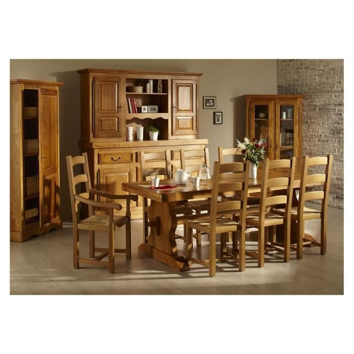 Ensemble table monast re la bresse 6 chaises en bois for Ensemble table salle a manger chaises