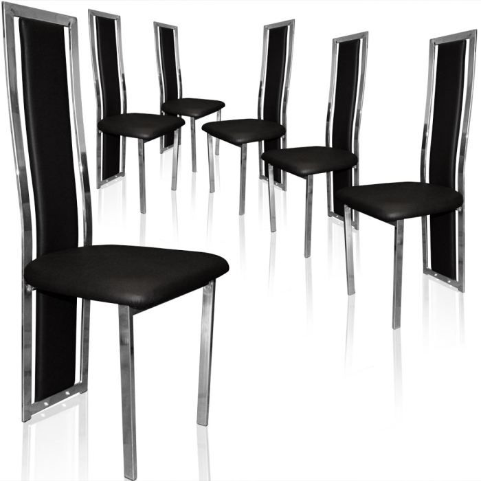 lot de 6 chaises melys noir achat vente chaise noir cdiscount. Black Bedroom Furniture Sets. Home Design Ideas
