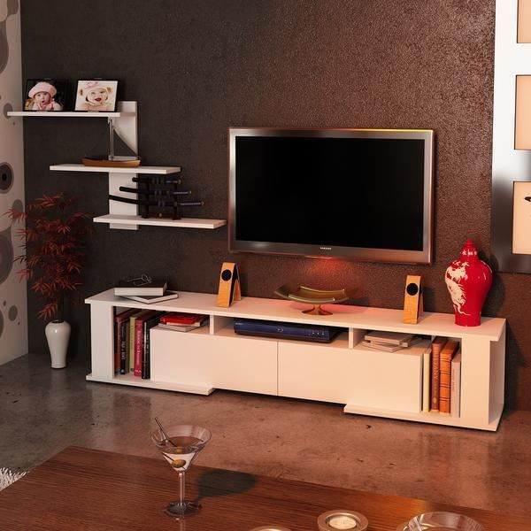 game meuble tv blanc 180cm 36 8cm 29 6cm achat vente meuble tv game meuble tv blanc 180cm. Black Bedroom Furniture Sets. Home Design Ideas